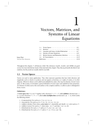 1 Chapter 1 Vectors Matrices and Systems of Linear Equations