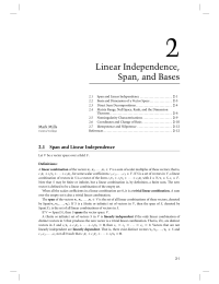 2 Chapter 2 Linear Independence Span and Bases