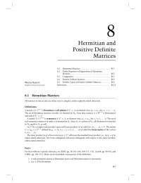 8 Chapter 8 Hermitian and Positive Definite Matrices