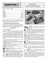 Instruction Sheet 10000 PSI TURBO II AIR PUMPS