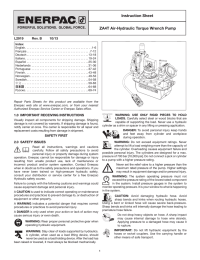 ZA4T Air-Hydraulic Torque Wrench Pump Instruction Sheet